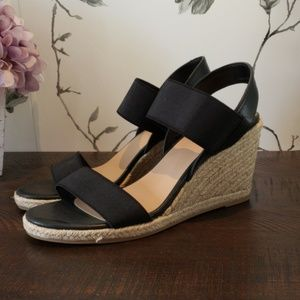 Merona Black Strappy Wedges Size 7.5.